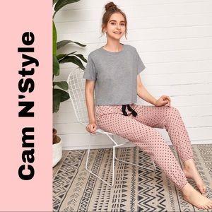New Gray Tee & Pink Polka Dot Pants Pajama Set